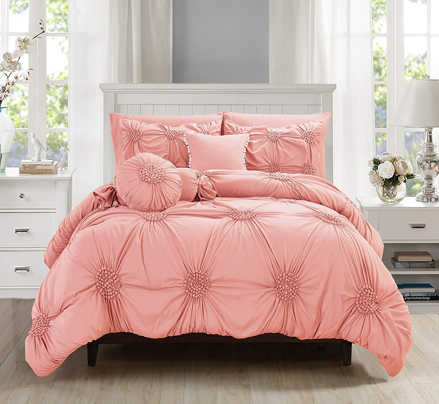 10 Piece Bed In A Bag Sunflower Comforter Set Silky Soft Complete Comforter Set Includes Bed Sheet Set With Double Sided Storage Pockets Featured Full Queen Dusty Rose Walmart Com Walmart Com
