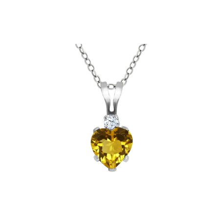 0.49 Ct Heart Shape Yellow Citrine White Topaz 925 Sterling Silver Pendant