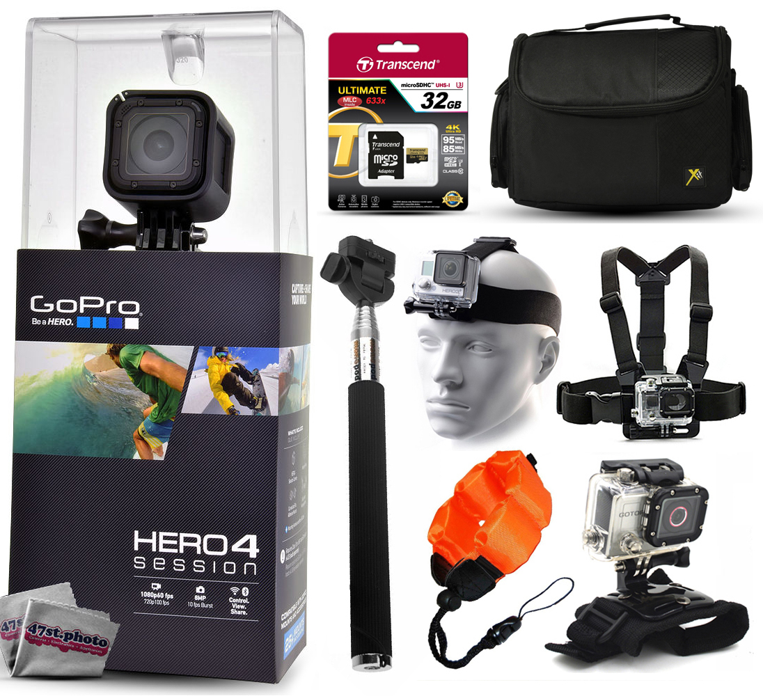 GoPro Hero 4 HERO4 Session CHDHS-101 with 32GB Ultra Memory + Large Travel Case + Head/Chest ...