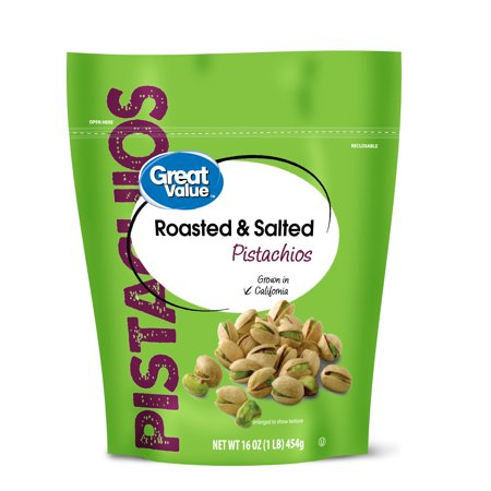 Great Value Roasted & Salted Pistachios, 16 Oz. (Cracked Pistachio)