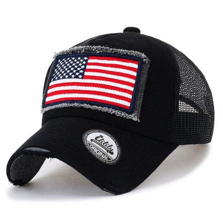 eef1a205 ililily USA Flag Patch Denim Cotton Vintage Distressed Baseball Cap Trucker  Hat , Black - Walmart.com