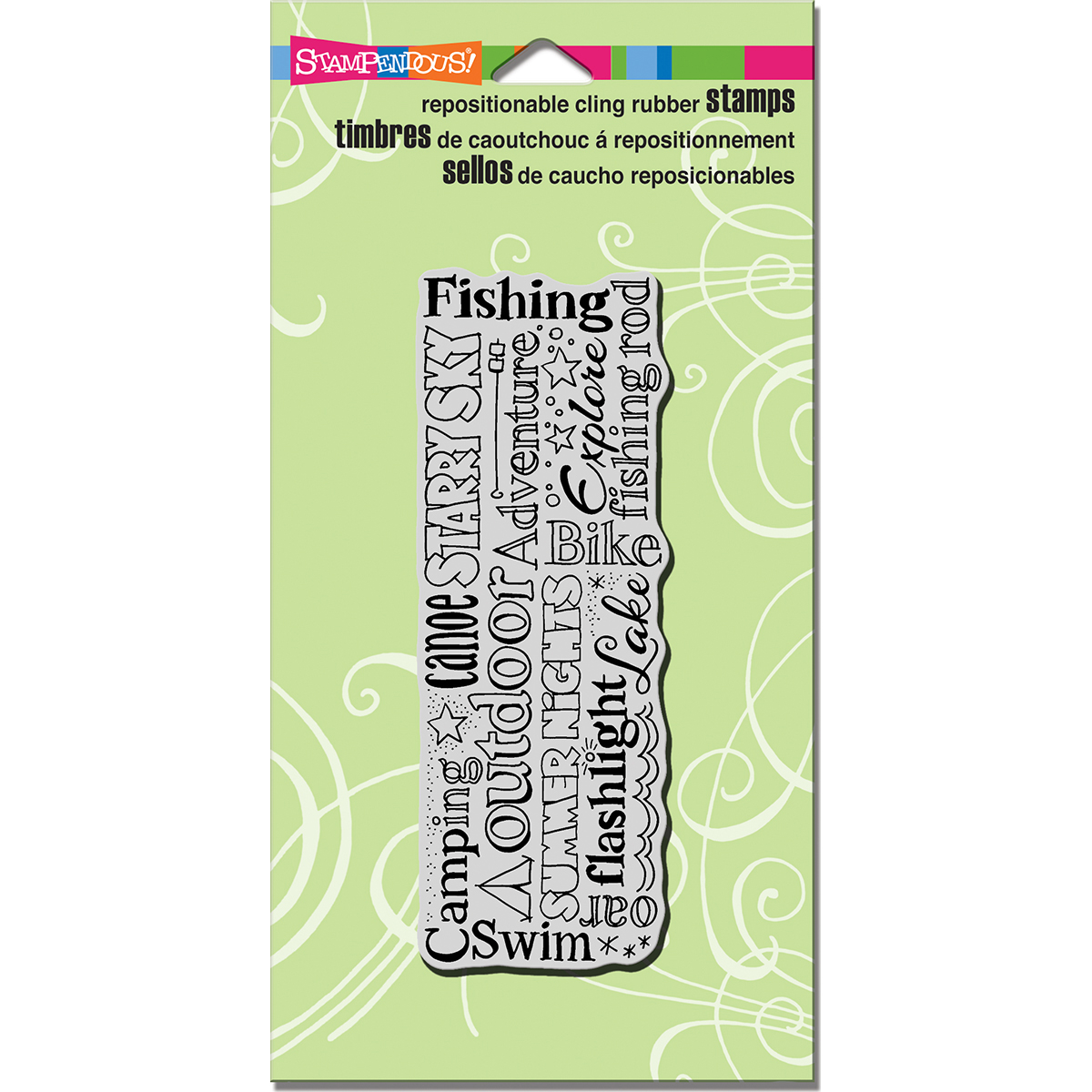 """Stampendous CRY034 Stampendous Cling Stamp 7""""X3.75"""" - Camping Words"""
