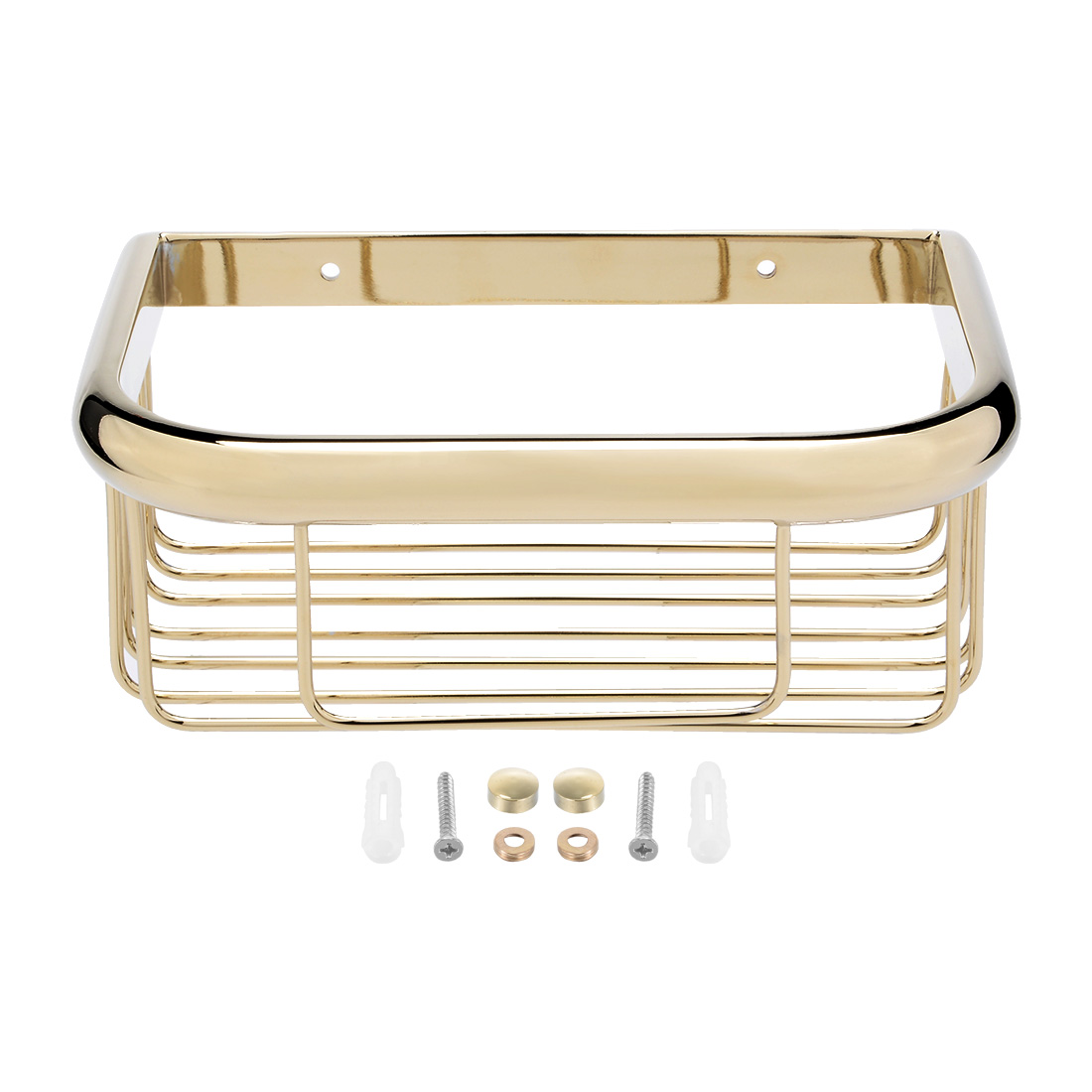 Click here to buy 8-inch Length Brass Rectangle Shape Bathroom Shower Caddy Basket Gold Tone.