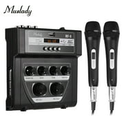 Muslady MF-8 Mini Sound Audio Mixer Stereo Echo Mixers Dual Mic Inputs Support BT Recording MP3 Function with 2 Set Wired Handheld Microphones for TV PC Smartphone Live Streaming Online Karaoke