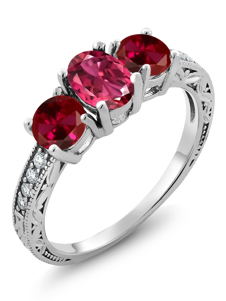 Gem Stone King 2.17 Ct Oval Pink Tourmaline Red Created Ruby 925 Sterling Silver Ring by