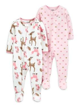Child of Mine Girls Microfleece 2-Pack Pajama Blanket Sleeper Sizes 5-8