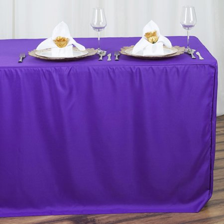 Efavormart Fitted 8 Feet Tablecloths for Kitchen Dining Catering Wedding Birthday Party Decorations Events (Snow White Birthday Decorations)