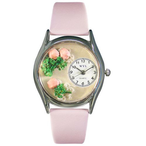 Whimsical Watches Women's Roses Pink Leather and Silvertone Watch in Silver