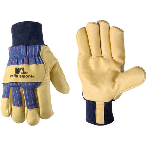 Insulated Grain Pigskin Leather Palm Work Gloves, Palomino/Blue Pinstripe