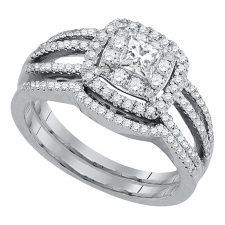 14k White Gold Princess Diamond Solitaire Womens Wedding Bridal Engagement Ring Set 7 8 Cttw