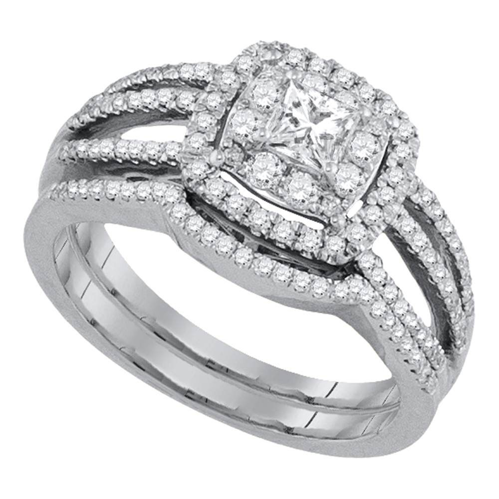 14k White Gold Princess Diamond Solitaire Womens Wedding Bridal Engagement Ring Set 7/8 Cttw