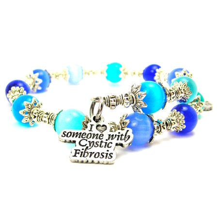 Chubby Chico Charms I Love Someone With Cystic Fibrosis Cat's Eye Wrap Charm Bracelet in Sapphire Blue and Aqua Blue