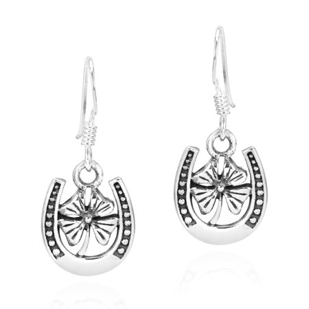 Lucky Four-Leaf Clover in a Horseshoe Sterling Silver Dangle Earrings