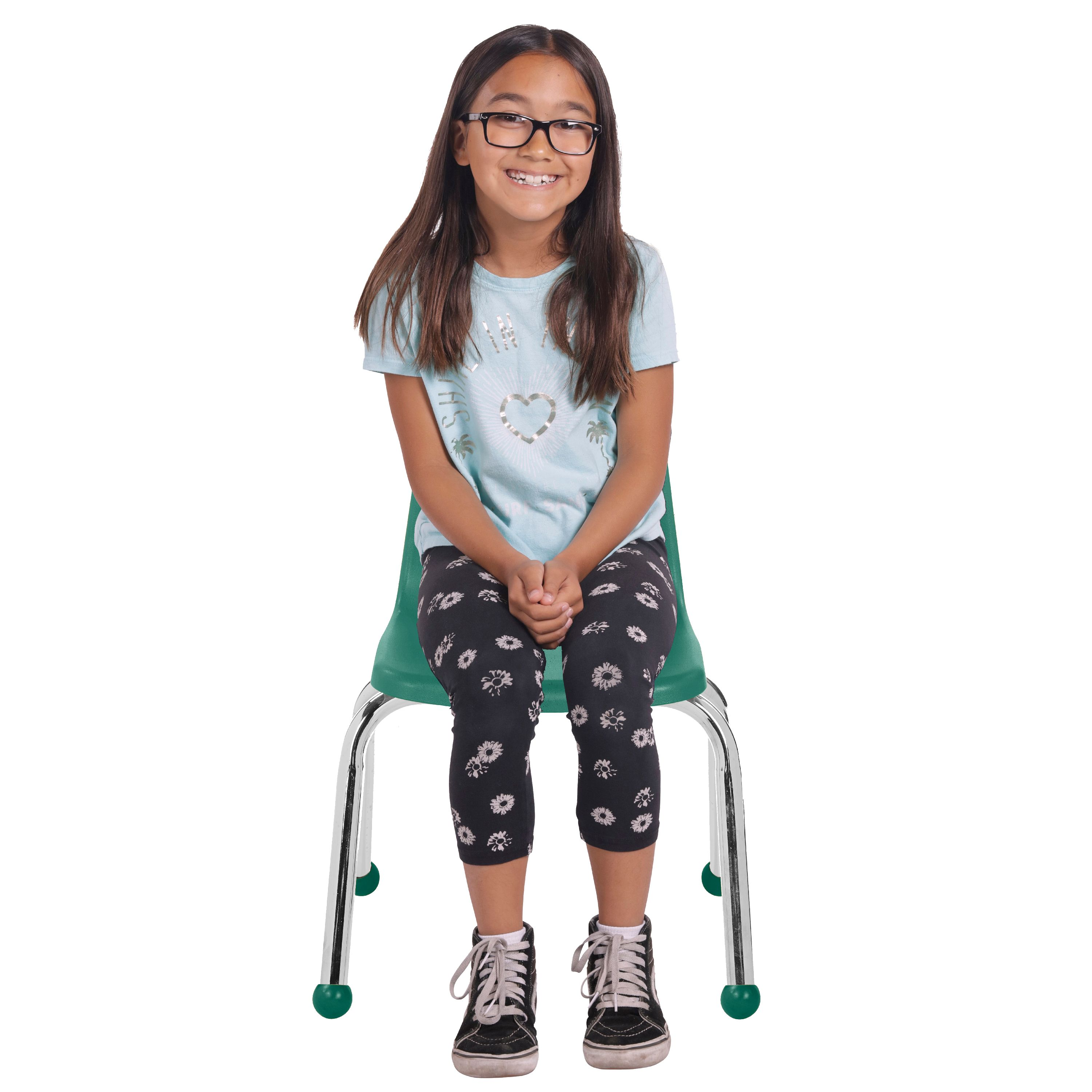 16 School Stack Chair,/Stacking Student Chairs with Chromed Steel Legs and Nylon Swivel Glides Navy 6-Pack