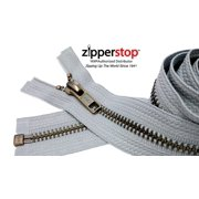 "ZipperStop Wholesale Authorized Distributor YKK® 27"" inch Medium Weight Jacket Zipper YKK #5 Antique Brass ~ Separating ~ 119 Light Grey (1 Zipper/pack) Crafter's Special"