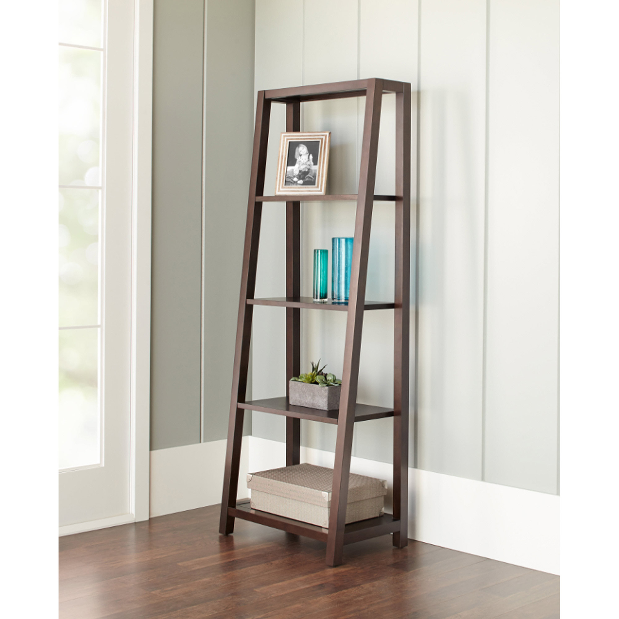 10 Spring Street Slant 4-Shelf Bookcase, Java