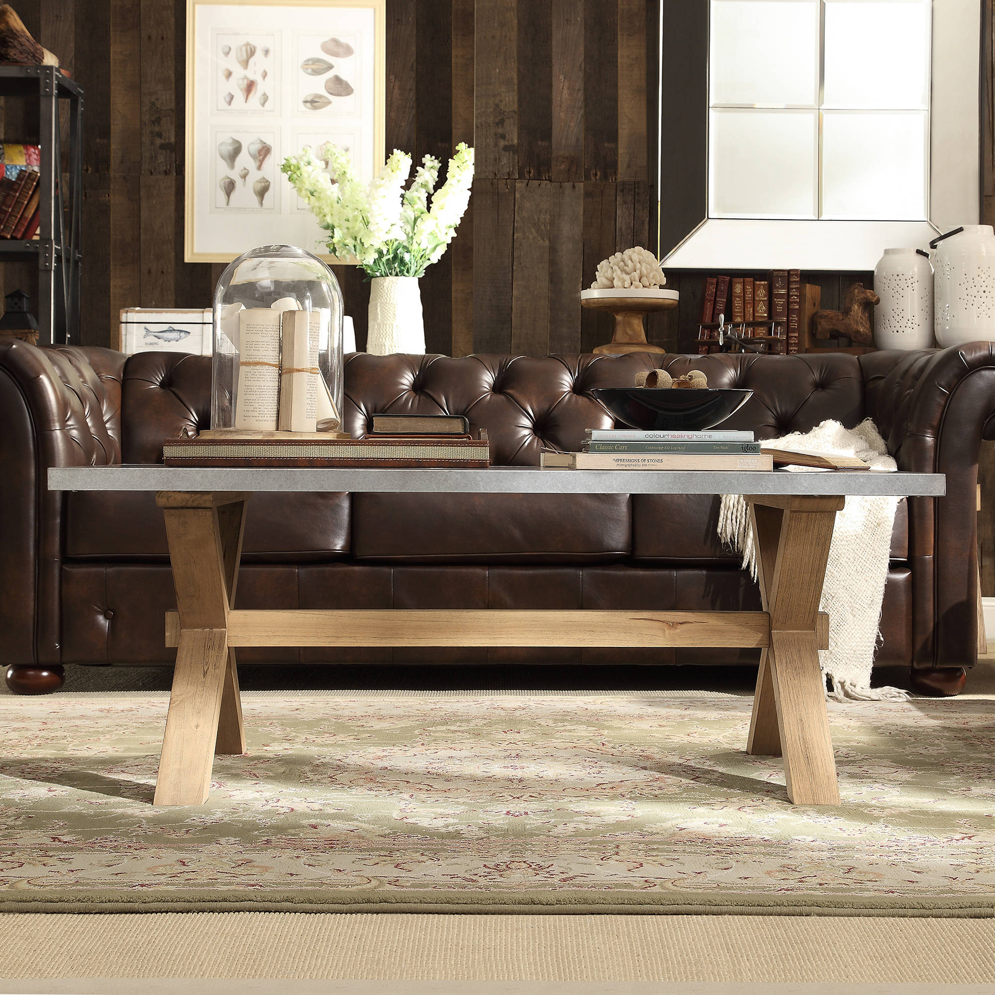 Chelsea Lane Wood and Concrete Cocktail Table, Light Brown Wood and Concrete by Overstock