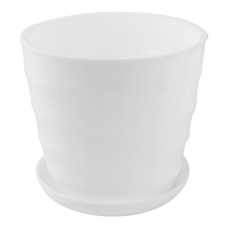 Pot Pond Plants - Home Garden Office Desk Plastic Round Plant Planter Flower Pot White 5 Inch Dia