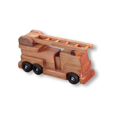 AmishToyBox.com Wooden Ladder Fire Truck Toy, CPSIA Kid Safe Finish