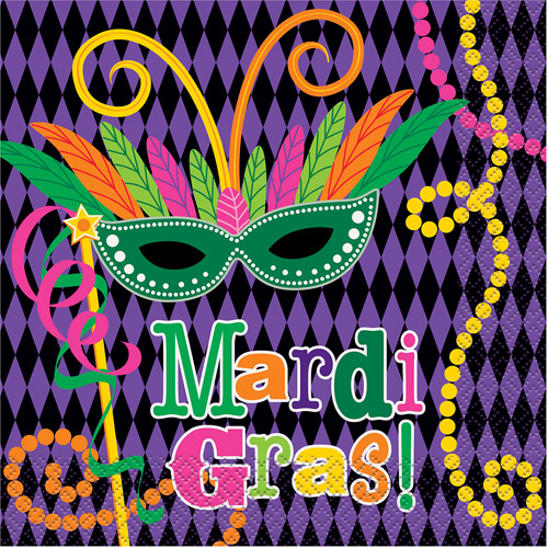 Mardi Gras Party Luncheon Napkins, 16ct