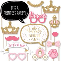 Little Princess Crown - Pink and Gold Princess Baby Shower or Birthday Party Photo Booth Props Kit - 20 Count