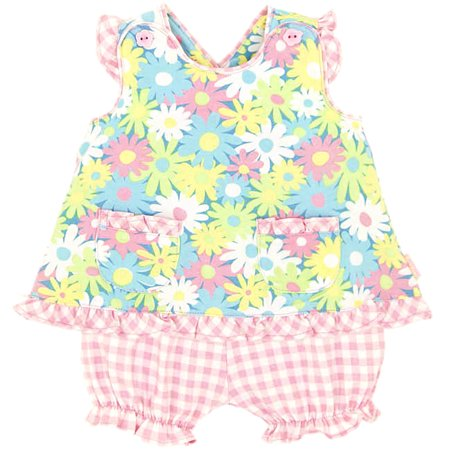 Le Top Baby Daisy Popover Top and Gingham Panty Set 24 months