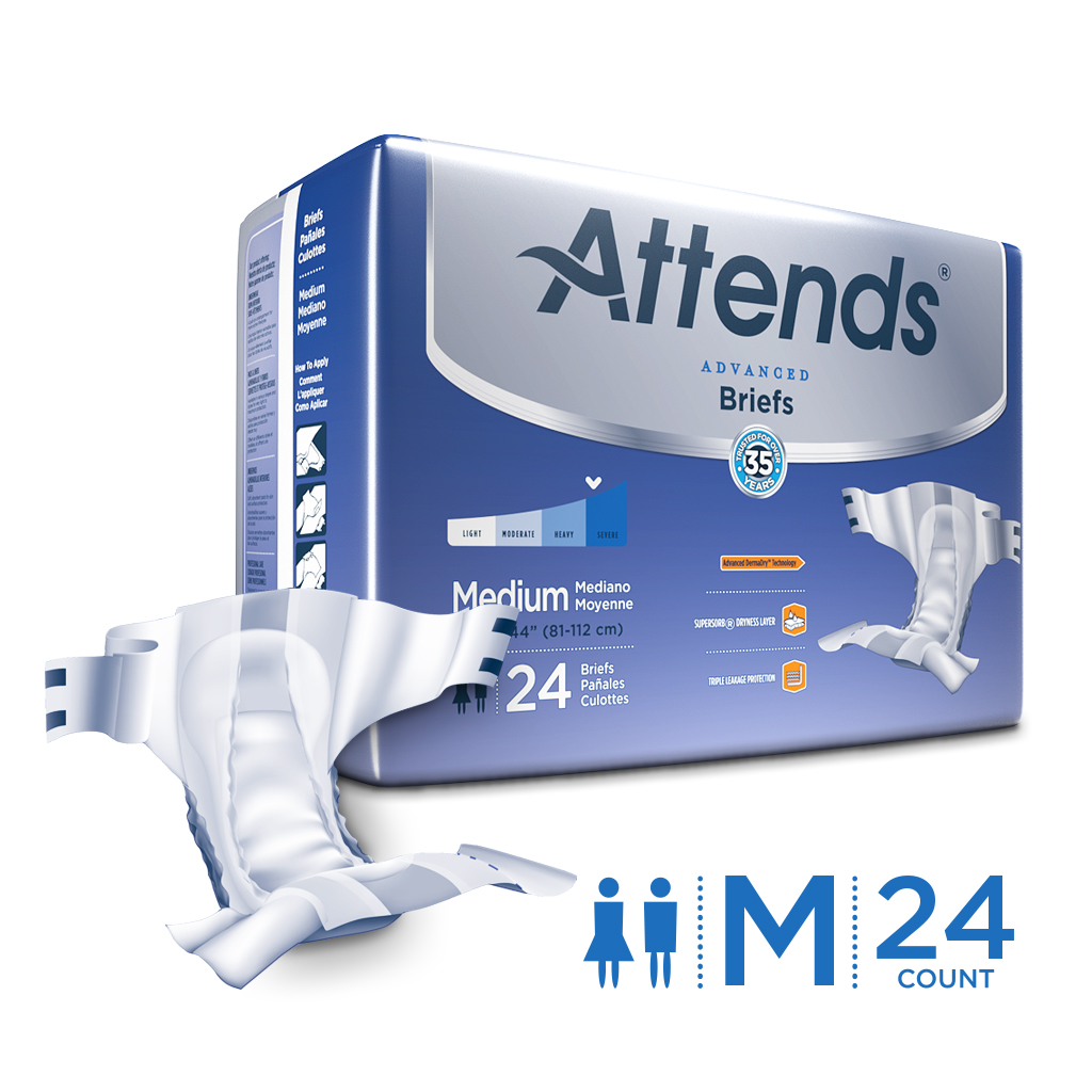 Attends Advanced Briefs, Unisex with Advanced Dry-Lock® Technology for Adult Incontinence Care (Choose Your Size)