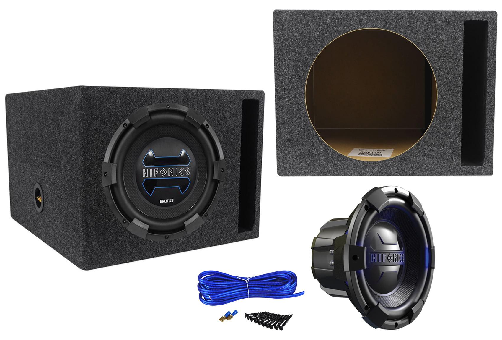 Hifonics Brx12d4 Brutus 12 900 Watt Car Subwoofer Vented Sub Enclosure Dual Wiring Kit With 14 Gauge Speaker Box
