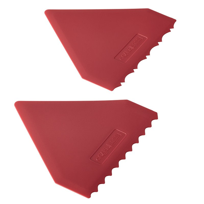 Cake Boss Decorating Tools 2 Piece Plastic Icing Comb Set in Red