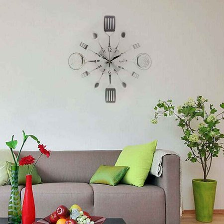 3D Removable Modern Cutlery Kitchen Spoon Fork Wall Clock Mirror Wall Decal (Road King Fork Lock Clocks)