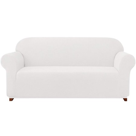 Subrtex 1-Piece Jacquard high Stretch Couch slipcover, Furniture Protector for Sofa, Spandex Washable 3 Seater Cushion Cover Coat (Sofa, Off-white)