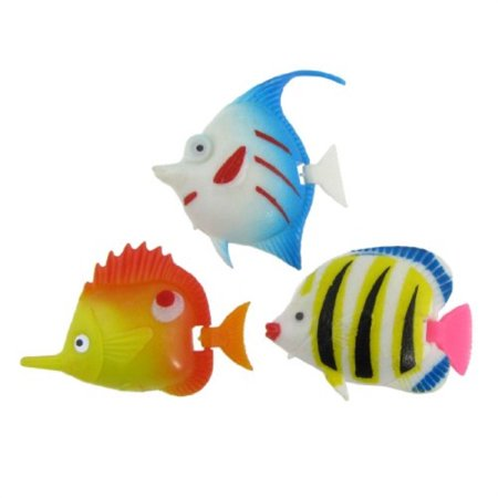 uxcell 3-piece plastic fish tank swimming tropical fishes, multicolor