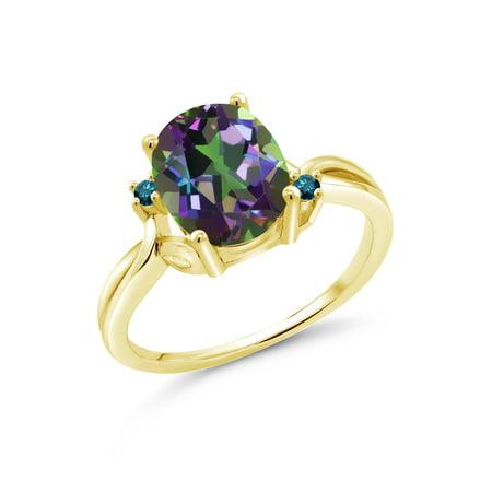 3.03 Ct Oval Green Mystic Quartz Blue Diamond 18K Yellow Gold Plated Silver Ring (Green Quartz Ring)