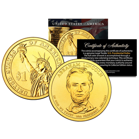 24K GOLD PLATED 2010 ABRAHAM LINCOLN Presidential $1 Dollar U.S. President Coin ()