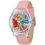 Tinker Bell Girls' Plastic Case Watch, Pink Leather Strap