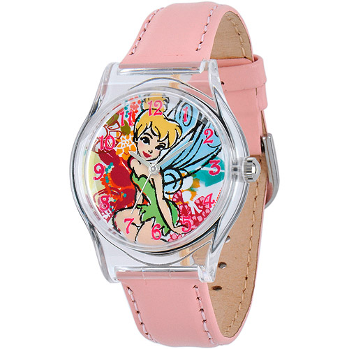 Disney Tinker Bell Girls' Plastic Case Watch, Pink Leather Strap
