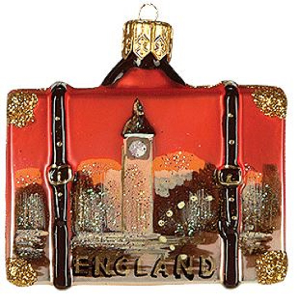 Miniature England Travel Suitcase Polish Glass Christmas Tree Ornament Mini