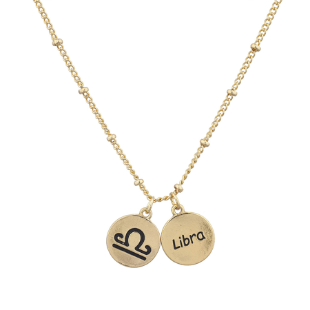 - Lux Accessories Gold Tone Libra and Astrological Sign Charm Necklace