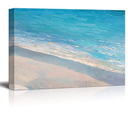 wall26 Canvas Wall Art - Oil Painting Style Abstract Seascape with Waves on The Beach - Giclee Print Gallery Wrap Modern Home Decor Ready to Hang - 12x18 inches