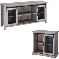 2 Piece Mesh Barn Door TV Stand and Buffet Side Table Set in Rustic Gray Oak