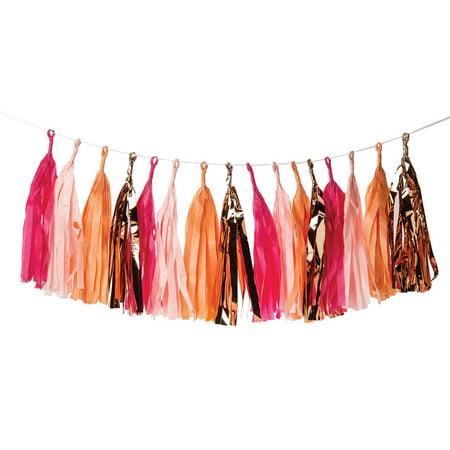 Tissue Paper Tassel Garland Peony Pinks (Set of 16, Fuchsia Pink, Orange & Copper Foil Tassels) (Foil Tassel Garland)