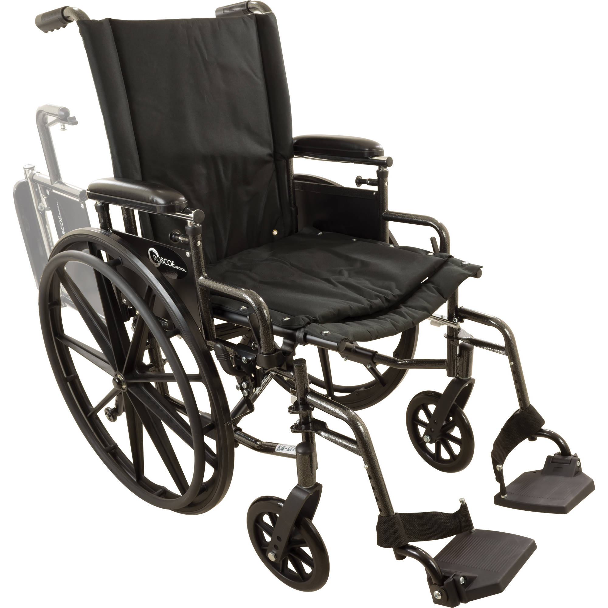 "Roscoe Onyx K4 Wheelchair, 18"" with Swing Away Footrests"