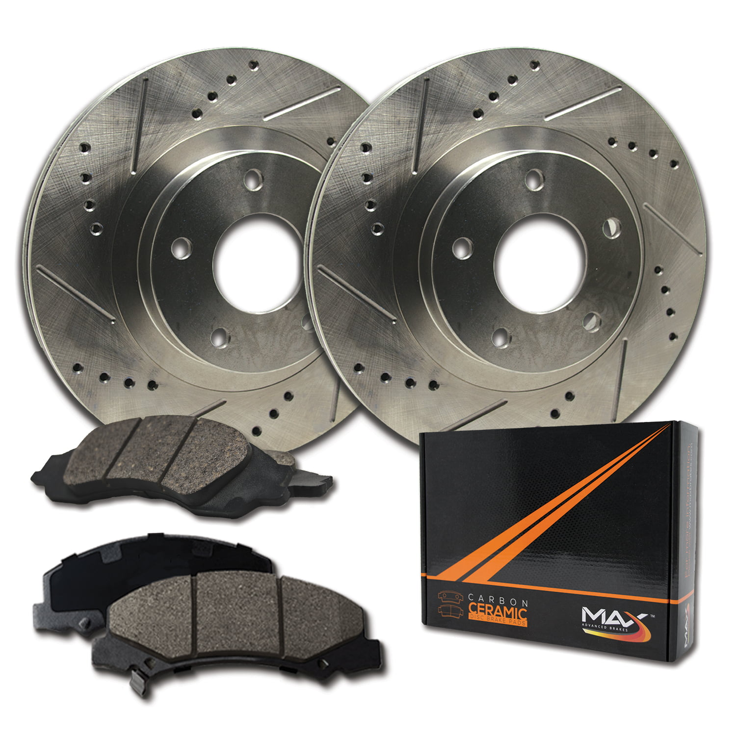 Fits: 2010 10 Jeep Commander Max Brakes Front /& Rear Supreme Brake Kit Premium Slotted Drilled Rotors + Ceramic Pads KM052533