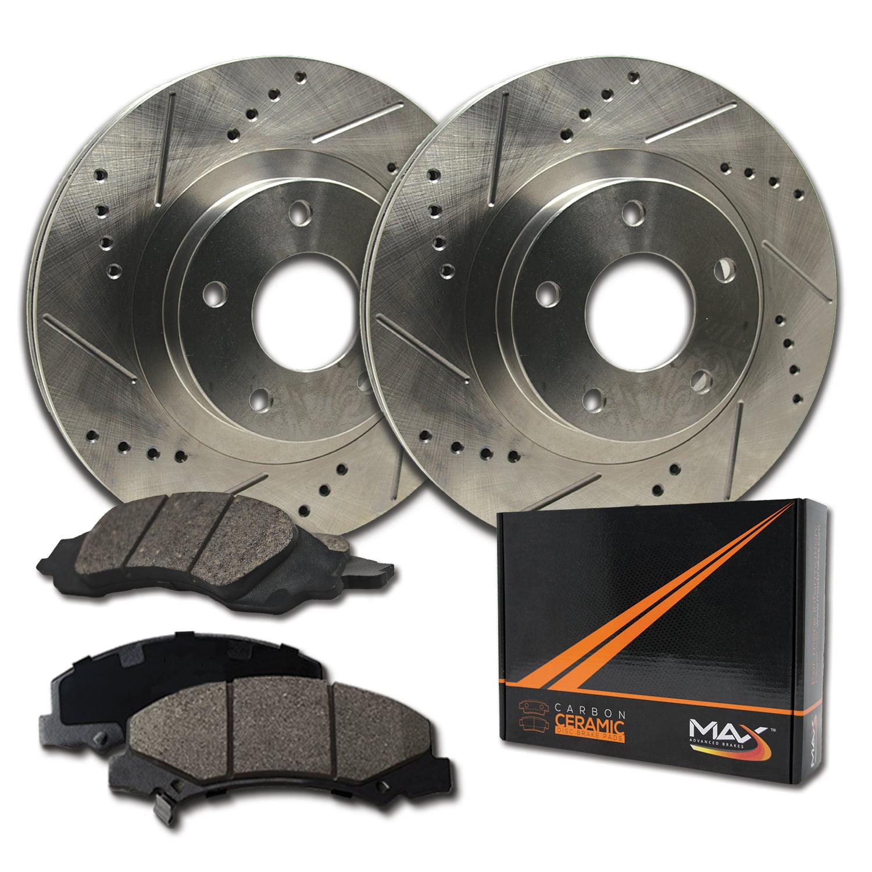 Max Brakes Front Performance Brake Kit [ Premium Slotted Drilled Rotors + Ceramic Pads ] KT053531   Fits: 2011 11 Dodge Grand Caravan - image 8 of 8