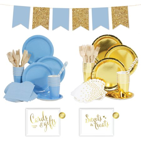 - Koyal Wholesale Complete 140-Piece Gold and Light Blue Tableware Kit for 16 Guests, Solid Color Party Decor Party Supply