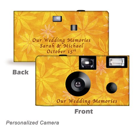 10 Pack Personalized  Orange Daisies Disposable Cameras. Free shipping.  Birthday Cameras, Wedding Cameras, Event Cameras, from CustomCameraCollection WM-50501-P