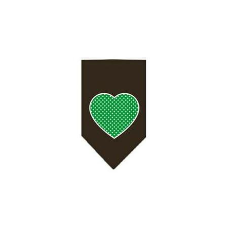 Green Swiss Dot Heart Screen Print Bandana Cocoa Large - Green Bandanna