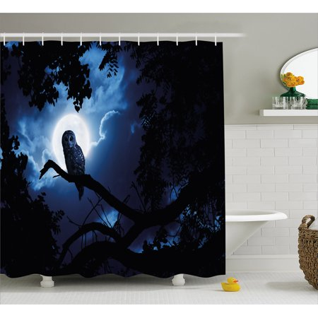 Night Shower Curtain, Quiet Night in the Woods Full Moon Tall Trees and Owl on Branch Tranquil Scene, Fabric Bathroom Set with Hooks, Black Blue White, by Ambesonne (Shower Curtain Tall)