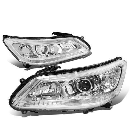 For 2013 to 2015 Honda Accord 4 -Door Sedan Pair of Projector Headlight Chrome Housing Clear Corner Headlamp 14