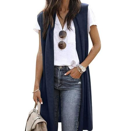 711ONLINESTORE Women Solid Color Lightweight Open Front Vest Cardigan